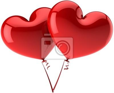 Dos corazones rojos como pareja de globos en amor romántico