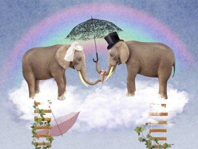Cuadro Dos elefantes en el amor con sombrillas.