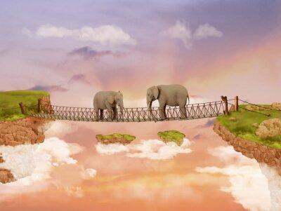 Cuadro Dos elefantes en un puente en el cielo
