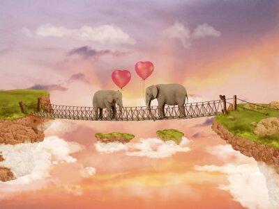 Cuadro Dos elefantes en un puente en el cielo con los globos. Ilustración