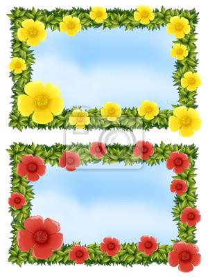 Dos marcos de flores con fondo de cielo pinturas para la pared ...