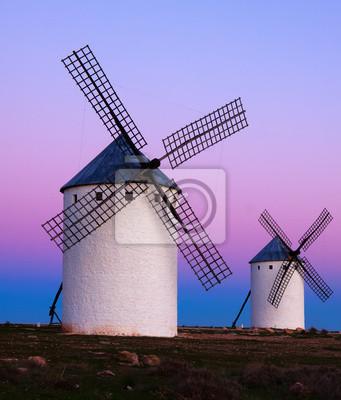 Dos molinos de viento en el campo en la salida del sol