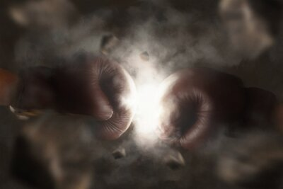 Cuadro Dos viejos guantes de boxeo marrón golpeó juntos