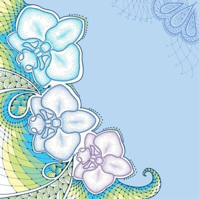 Cuadro Dotted moth Orchid or Phalaenopsis con encaje decorativo en colores pastel sobre el fondo azul. Elementos florales en estilo de puntowork.