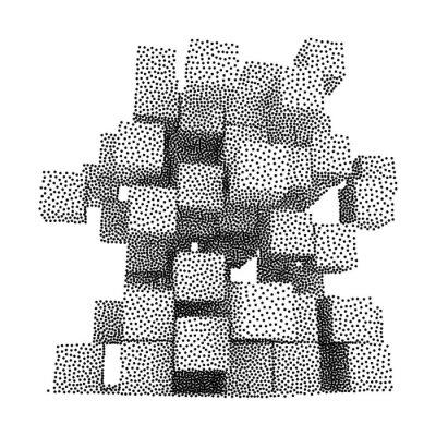 Cuadro Dotwork Halftone Vector Icono Cajas