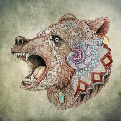 Cuadro Dotwork, tatuaje, jefe enfurecido oso
