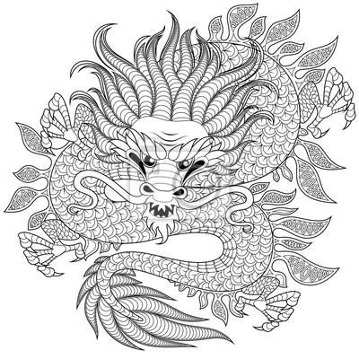Dragón Chino En Estilo Zentangle Para Tatuaje Adulto Antistress
