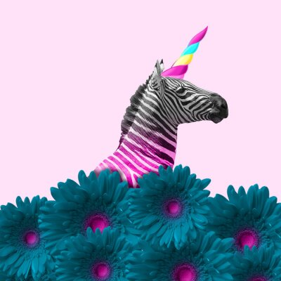 Cuadro Dreaming about being better. An alternative zebra like a unicorn in blue flowers on pink background. Negative space. Modern design. Contemporary art. Creative conceptual and colorful collage.