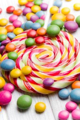 Cuadro dulces de colores y paleta