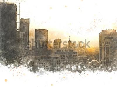 Cuadro Edificio abstracto en la ciudad en fondo de la pintura de la acuarela. Ciudad en pincel de ilustración digital para art.