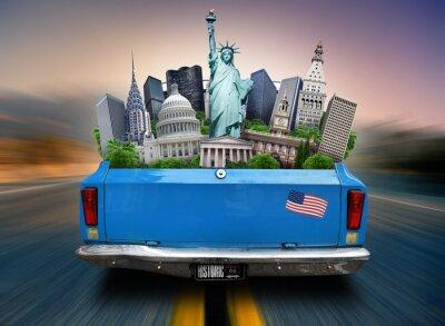 Cuadro EE.UU., atracciones USA en el maletero de un coche en movimiento