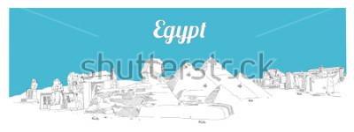 Cuadro EGIPTO dibujo a mano dibujo panorámico ilustración