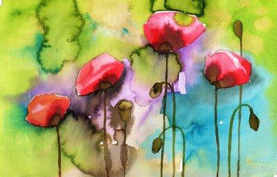 Cuadro ejemplo de la acuarela que representa las flores de primavera en el prado