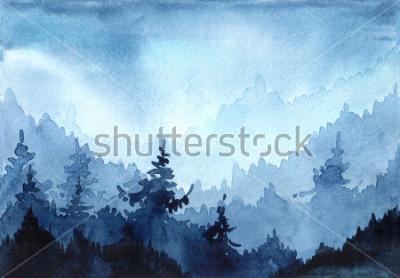 Cuadro Ejemplo dibujado mano de la acuarela con el bosque del invierno Paisaje invernal con árboles de navidad. tarjeta de navidad