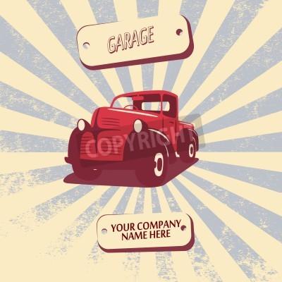 Cuadro Ejemplo retro del vector del coche de la camioneta pickup del vintage conveniente para la promoción, los diseños de la camiseta, el etc.