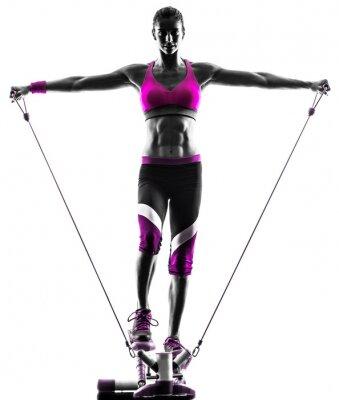 Cuadro ejercicios bandas mujer de la aptitud de resistencia de pasos
