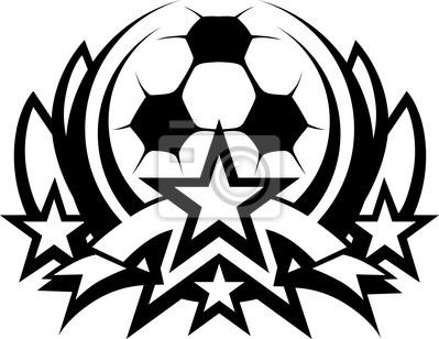 6c13db94bdb47 El balón de fútbol vector plantilla gráfica con estrellas pinturas ...