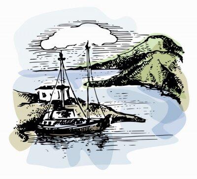 Cuadro El barco en las olas cerca de la orilla. Ilustración del yate. Vista a la playa. Paisaje de acuarela. Ilustración del vector