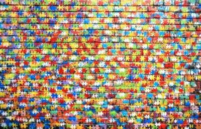 Cuadro El color de fondo de la pintada de la calle en una pared de ladrillo