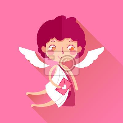 El Día De Tarjeta Del Día De San Valentín Cartero Lindo Del Cupid