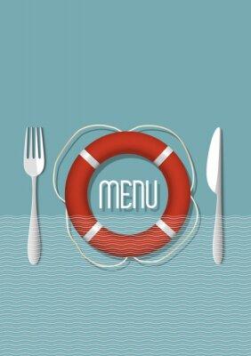 Cuadro El diseño del menú retro para restaurante de mariscos - variación del 5
