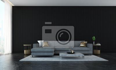 Cuadro El diseño interior del salón de lujo y la habitación livin y el fondo de pared de pared negra
