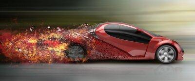 Cuadro El exceso de velocidad de desintegración coche