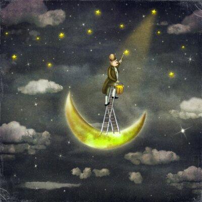 Cuadro El hombre dibuja estrellas en la parte superior de la escalera de altura en el cielo oscuro