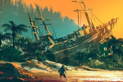 Cuadro El hombre náufrago de pie en la playa de la isla con el barco abandonado al atardecer, ilustración de pintura