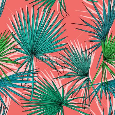 Cuadro El modelo con imagen de una palma verde del ventilador se va en un fondo coralino. Ilustracion vectorial