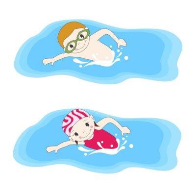 Cuadro El muchacho y la natación en la piscina