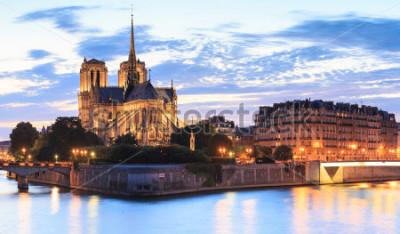 Cuadro El panorama de la isla cita con la catedral Notre Dame de Paris en París, Francia.