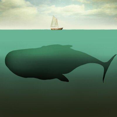 Cuadro El pequeño barco y la ballena gigante