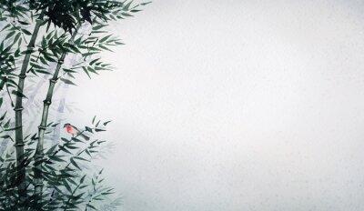 Cuadro El pequeño pájaro en una arboleda de bambú. El cuadro en estilo japonés