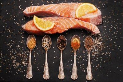 Cuadro El salmón fresco y especias