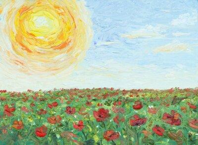 Cuadro El sol sobre campo de amapolas, pintura, óleo sobre lienzo