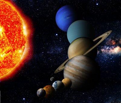 Cuadro El sol y nueve planetas de nuestro sistema en órbita