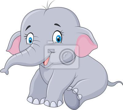Elefante Bebé De Dibujos Animados Sentado Aislado Sobre Fondo