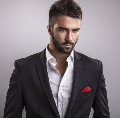 Cuadro Elegant young handsome man. Retrato de la manera.