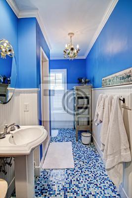 Elegante cuarto de baño azul pinturas para la pared • cuadros lavabo ...