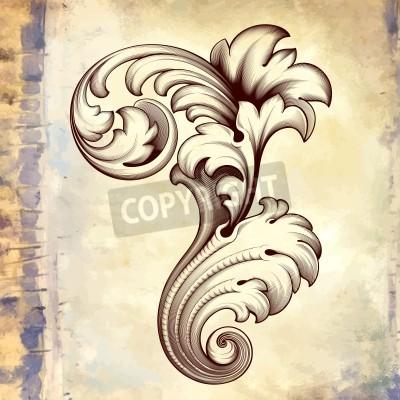 Cuadro elemento patrón acanto diseño frameborder filigrana desplazamiento grabado floral barroco de la vendimia en el fondo retro grunge