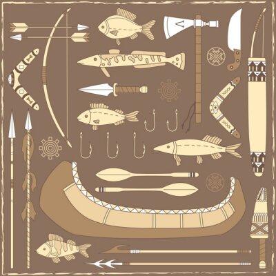 Cuadro Elementos de diseño de la pesca del nativo americano