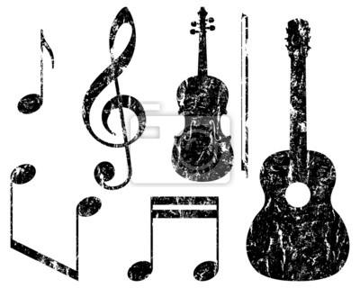 Cuadro Elementos De La Música Grunge Guitarra Violín Clave De Sol