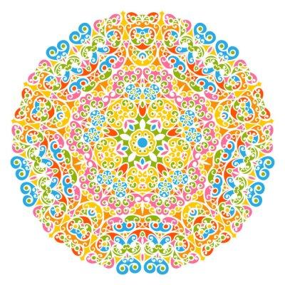 Cuadro Elementos decorativos Elementos - flores, florales y abstracto Conjunto de mandala, aislados en fondo blanco. Colorido resumen patrón decorativo - adorno ornamentado con elementos de diseño - fondos.
