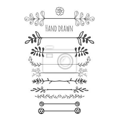 Elementos florales dibujados a mano. frontera dibujada mano de ...