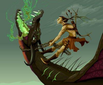 Cuadro Elf está montando el dragón