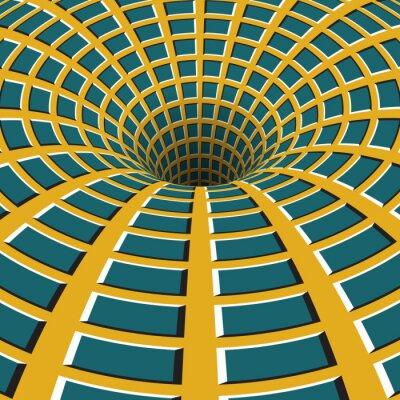 Cuadro Embudo cuadriculado. Agujero giratorio. Motley movimiento de fondo. Ilustración de la ilusión óptica.