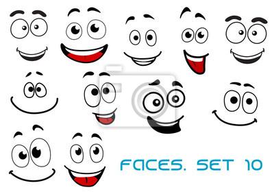Emociones Felices En Las Caras De Dibujos Animados Pinturas Para La