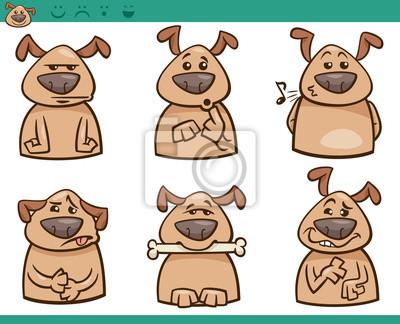 Emociones Perro De Dibujos Animados Conjunto Pinturas Para La Pared
