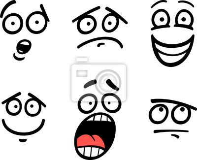 Emoticon O Emociones Conjunto Ilustración De Dibujos Animados